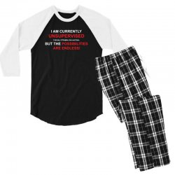 i am currently unsupervised adult humor novelty graphic sarcasm funny Men's 3/4 Sleeve Pajama Set | Artistshot