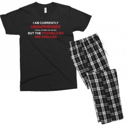 i am currently unsupervised adult humor novelty graphic sarcasm funny Men's T-shirt Pajama Set | Artistshot