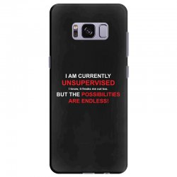 i am currently unsupervised adult humor novelty graphic sarcasm funny Samsung Galaxy S8 Plus Case | Artistshot