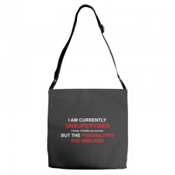 i am currently unsupervised adult humor novelty graphic sarcasm funny Adjustable Strap Totes | Artistshot