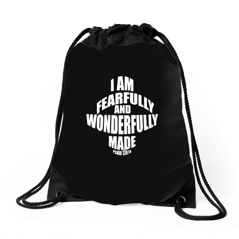 I Am Fearfully And Wonderfully Made Christian Drawstring Bags | Artistshot