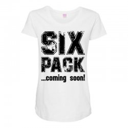 six pack coming soon Maternity Scoop Neck T-shirt | Artistshot