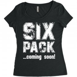 six pack coming soon for dark Women's Triblend Scoop T-shirt | Artistshot
