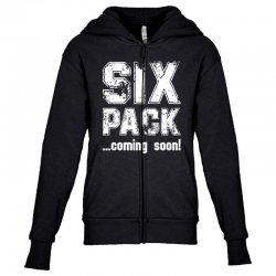 six pack coming soon for dark Youth Zipper Hoodie | Artistshot