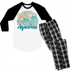 aquarius Men's 3/4 Sleeve Pajama Set | Artistshot
