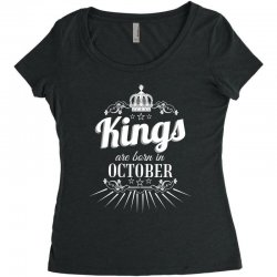 kings are born in october Women's Triblend Scoop T-shirt | Artistshot
