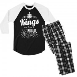 kings are born in october Men's 3/4 Sleeve Pajama Set | Artistshot