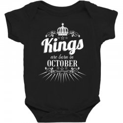kings are born in october Baby Bodysuit | Artistshot