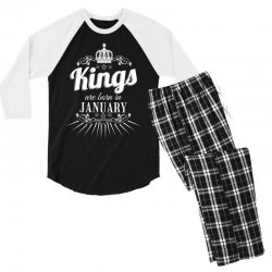 kings are born in january Men's 3/4 Sleeve Pajama Set | Artistshot