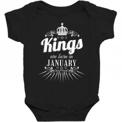 kings are born in january Baby Bodysuit | Artistshot
