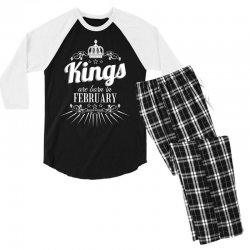 kings are born in february Men's 3/4 Sleeve Pajama Set | Artistshot