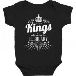 kings are born in february Baby Bodysuit | Artistshot