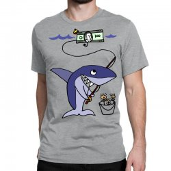 funny shark fishing for humans Classic T-shirt | Artistshot