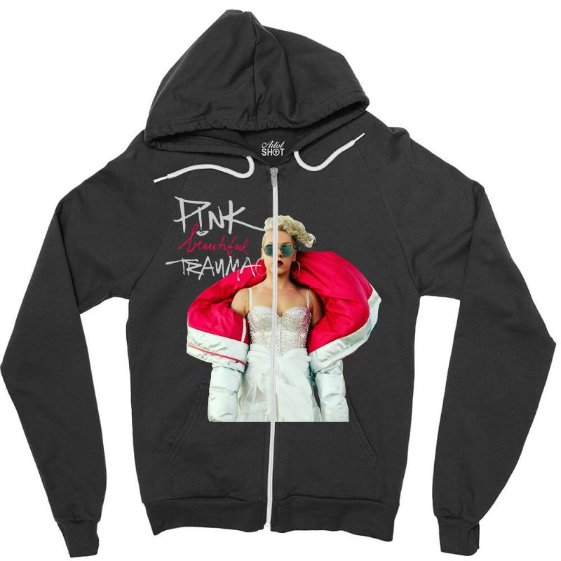 Pink Beautiful Trauma Zipper Hoodie | Artistshot