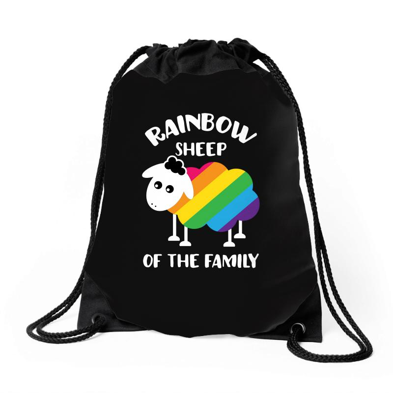 Rainbow Sheep Of The Family Drawstring Bags | Artistshot