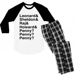 big bang theory helvetica names Men's 3/4 Sleeve Pajama Set | Artistshot