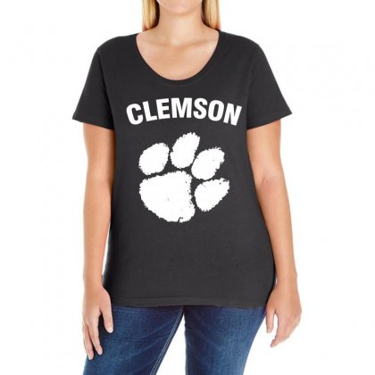 Clemson Tigers (white) Ladies Curvy T-shirt Designed By Black White