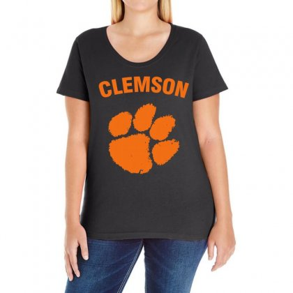 Clemson Tigers Ladies Curvy T-shirt Designed By Black White