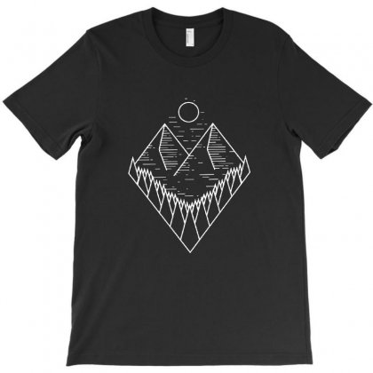 Mountain Tree Line Art T-shirt Designed By Teeshop