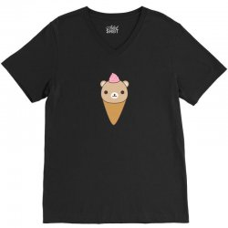funny brown bear ice cream V-Neck Tee | Artistshot