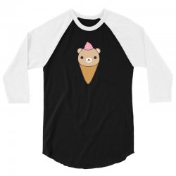 funny brown bear ice cream 3/4 Sleeve Shirt | Artistshot