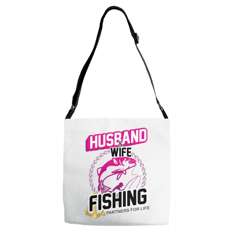 7ed8829a61 Custom Husband Wife Fishing Partners For Life Adjustable Strap Totes By  Wizarts - Artistshot