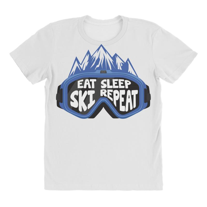 6034dc2202506 Custom Eat Sleep Ski Repeat Blue All Over Women s T-shirt By Wizarts ...