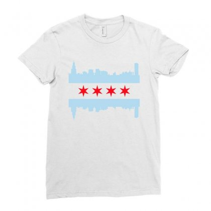 Chicago Flag Ladies Fitted T-shirt Designed By Sengul