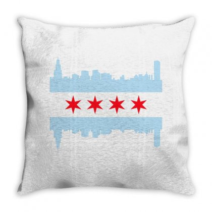 Chicago Flag Throw Pillow Designed By Sengul