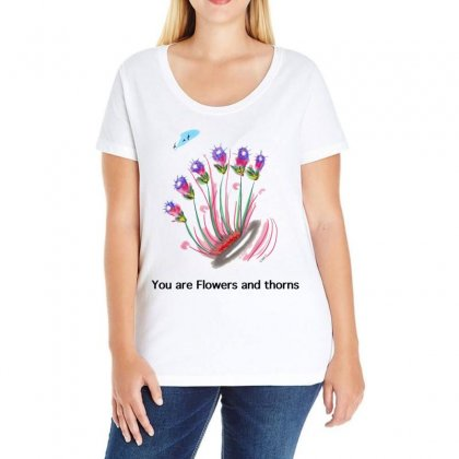 Flowers And Thorns Ladies Curvy T-shirt Designed By Issam