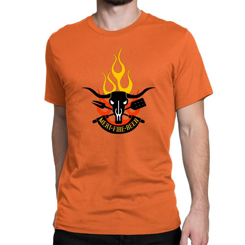 5da6a7809 Custom Meat Fire Beer Father's Day Classic T-shirt By Yudyud - Artistshot