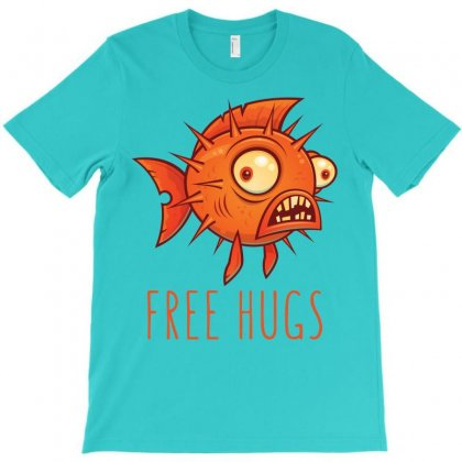 Free Hugs Cartoon Blowfish T-shirt Designed By Fizzgig