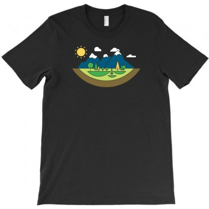 Mountains Island T-shirt Designed By Ik1n