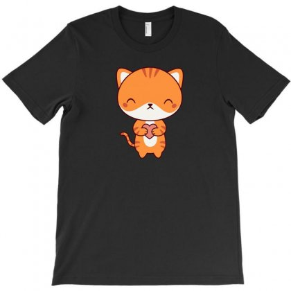Orange Kawaii Cute Kitten Cat T-shirt Designed By Ik1n