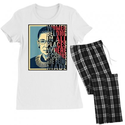 Rbg Ruth Bader Ginsburg Women Belong In All Places Women's Pajamas Set Designed By Blqs Apparel