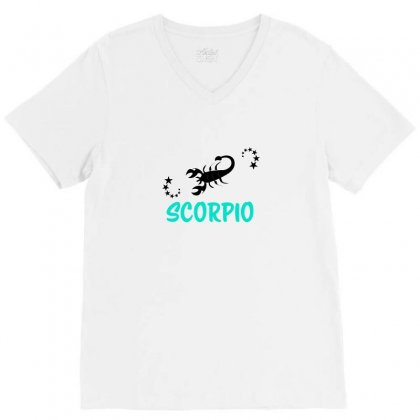 Zodiac Scorpio V-neck Tee Designed By Emardesign