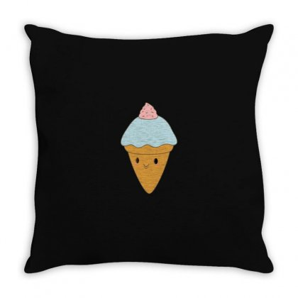 Blue Ice Cream Cone Is Kawaii Throw Pillow Designed By M0ch