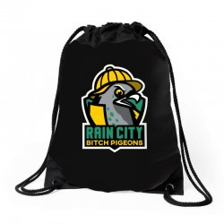 rain city bitch pigeons Drawstring Bags | Artistshot