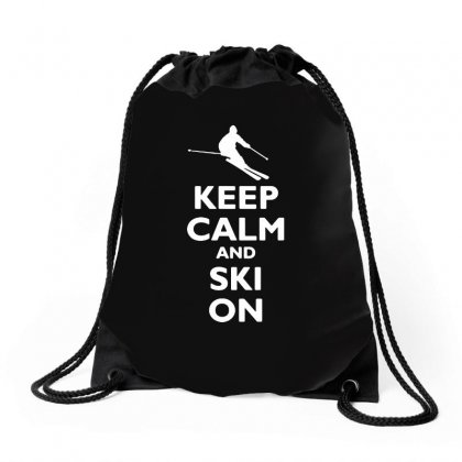 Keep Calm And Ski On Drawstring Bags Designed By Tee Shop