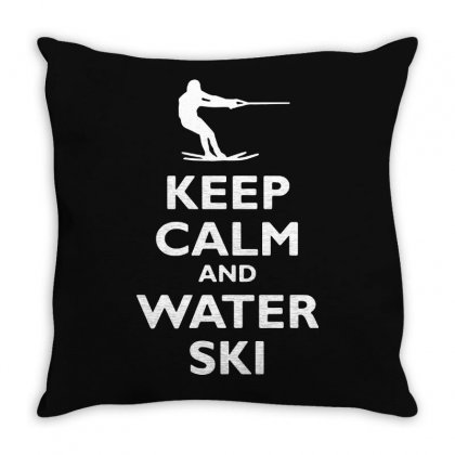 Keep Calm And Water Ski Throw Pillow Designed By Tee Shop