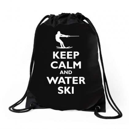 Keep Calm And Water Ski Drawstring Bags Designed By Tee Shop