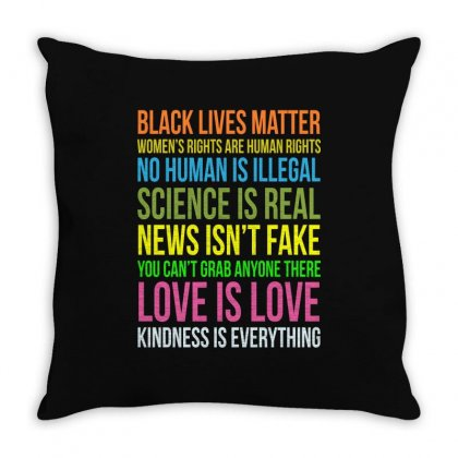 Kindness Is Everything Black Lives Love Is Love Funny Throw Pillow Designed By Tee Shop