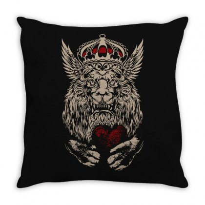 King Lion Heart Throw Pillow Designed By Tee Shop