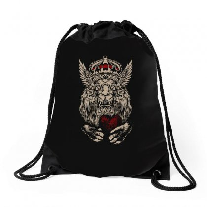 King Lion Heart Drawstring Bags Designed By Tee Shop