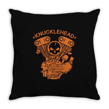 Knucklehead Motorcycle Engine T Shirt Vintage Biker Throw Pillow Designed By Tee Shop
