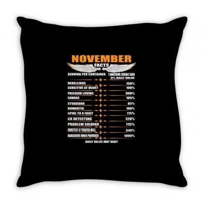 November Facts Throw Pillow Designed By Omer Acar