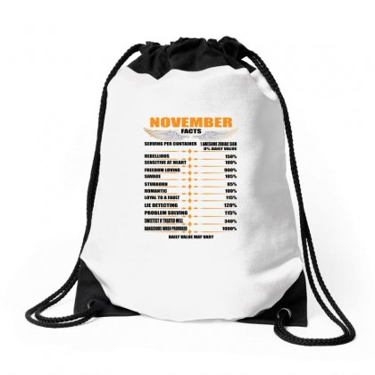 November Facts Drawstring Bags Designed By Omer Acar
