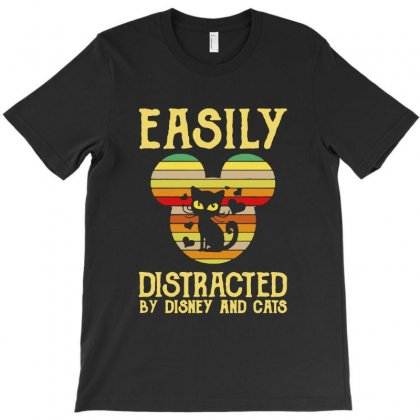 Sunset Cat Easily Distracted By Disney And Cais T-shirt Designed By Blqs Apparel