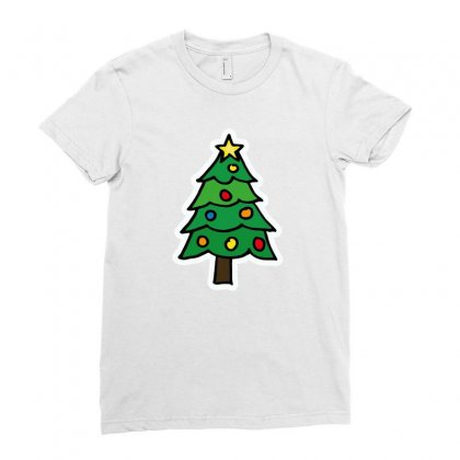 Christmas Tree Illustration Funny Tshirt Ladies Fitted T-shirt Designed By Alex