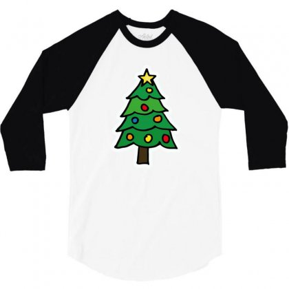 Christmas Tree Illustration Funny Tshirt 3/4 Sleeve Shirt Designed By Alex